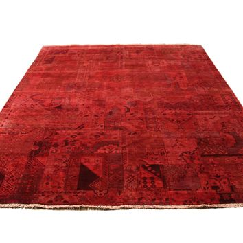 8x10 Patchwork Overdyed Brick Rust Red Rug Chobi 2876