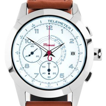 Miansai 'M1 Noir Classic' Automatic Chronograph Leather Strap Watch, 39mm - Brown/ Silver (Online Only)