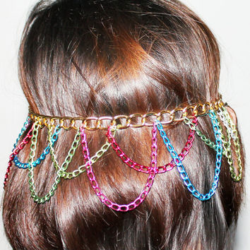 Gold and Neon Chain Headpiece Headdress Headband Boho Bohemian Gypsy Hippie Hipster Style