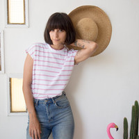 White Muscle Tee with Pink Stripes // Oversized Muscle Shirt