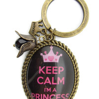 Keychain customizable, add your favorite quote or image. glass cabochon keychain , Keep Calm Im a Princess