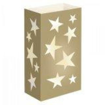 12 Luminaria Bags - Gold Star Design