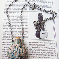 Raku Tree of Life Oil Bottle Necklace urn ashes long handmade jewelry womens