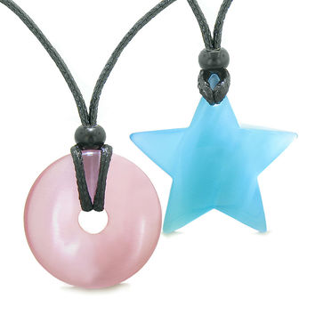 Large Coin Donut Super Star Amulet Love Couple or Best Friends Pink Sky Blue Cats Eye Pendant Necklaces