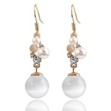 Opal Pearl + Crystal Cluster Charm Earrings