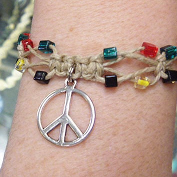 Rasta Peace Sign Hemp Bracelet or Anklet handmade jewelry custom welcome