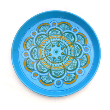 Worcester Ware Tray, Vintage Tray, Retro Blue Drinks Tray, Round Pat Albeck, Tray, Psychedelic 1970s Tray, Mid Century Tin Tray, Floral Tray