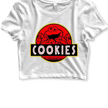 Cookie Monster Jurassic Park Sesame Street Womens Crop T Shirt