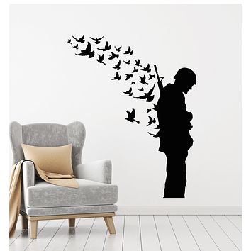 Vinyl Wall Decal Soldier With Weapon Memory Military Birds Patriotic Stickers Mural (g2945)