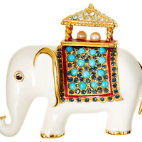 Gold Plate White Elephant Brooch, Brooches & Pin/Pendants