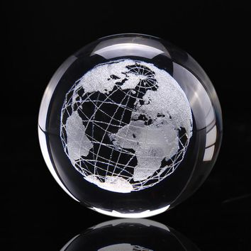 6cm 3D  Earth Miniature Model Laser Engraved Crystal Ball Glass Globe Crystal Craft Ornament Home Decoration Sphere Gift