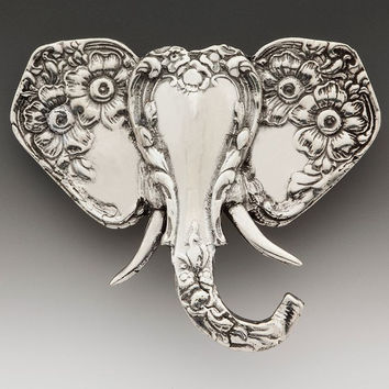 Silver Spoon Brooches - Elephant