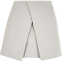 River Island Womens Grey wrap front mini skirt