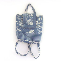 25% OFF STOREWIDE vintage floral quilted bag purse // blue and white Backpack