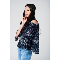 Navy top with floral print