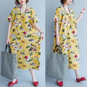 DIMANAF Plus Size Women Summer Dress Floral Print Linen Female Casual Fashion Long Yellow V-Neck Loose Vintage Hawaiian Dresses