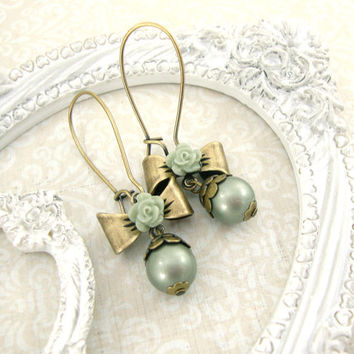 Sage Green Dainty Brass Bow Earrings - Cute Swarovski Pearl Earrings Resin Rose Earrings Vintage Style Girly Jewelry - Shabby Chic Earrings