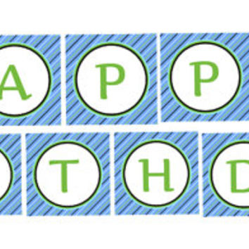 Train Party Happy Birthday Banner: INSTANT DOWNLOAD