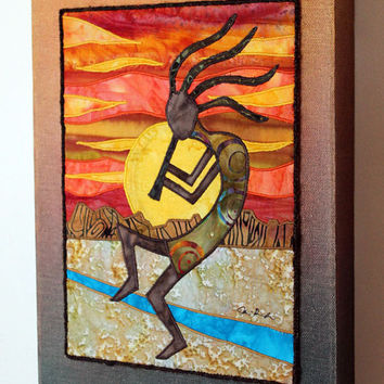 Kokopelli, Native American, Southwest art, Art quilt on canvas, Home decor