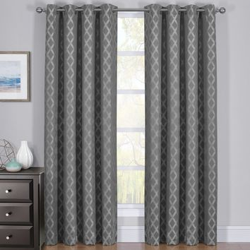 Gray 54x63 100% Blackout Curtain Panels Rosaline - Woven Jacquard Triple Pass Thermal Insulated (Set of 2 Panels)