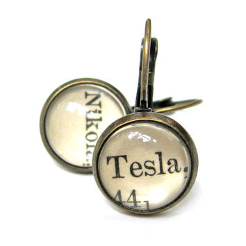 Nikola Tesla Scientist Recycled Library Card Word Earrings Patina Brass