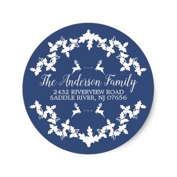Blue Holly Berry Return Address Round Sticker