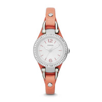 Georgia Mini Three-Hand Leather Watch - Pink