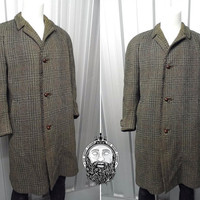 Vintage Crombie Aberdeen Coat Formal Coat Tweed Coat Gentleman Jacket Plaid Tartan Harris Tweed Mens Overcoat Classic English Country