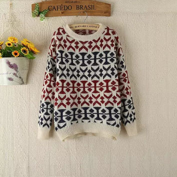 Sea Pullover Vintage Geometric Pattern Sweater [9036998796]