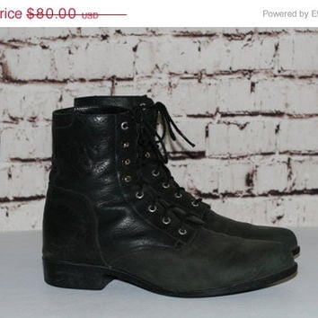 40% OFF 90s Roper Boots Black Leather Combat Rancher us 7.5  Punk Grunge Hipster Festival Boho Cyber Goth Minimalist Gypsy Ariat Distressted