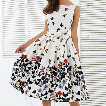 New Women Fashion Butterfly Floral Vintage Pleat Swing Dresses Summer Sleeveless Zipper Sashes Dress Retro Party Dresses