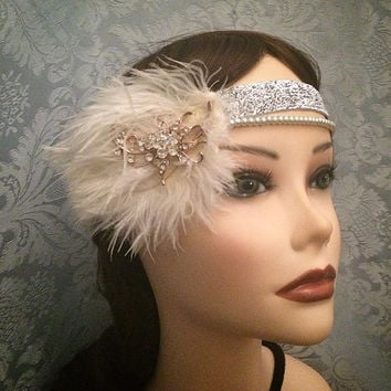 20's style White Silver Gold Art Deco flapper headband Flower Rhinestone Gatsby Feather Ostrich Head Piece 1920s 20s headpiece band 1920's