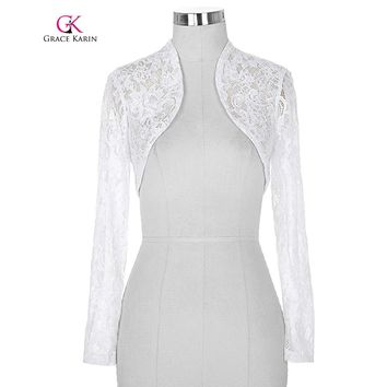 Lace Bolero wedding Long Sleeves Elegant Jacket Wedding Accessories Cropped Wrap Shrug Women Plus Size Bolero 2018