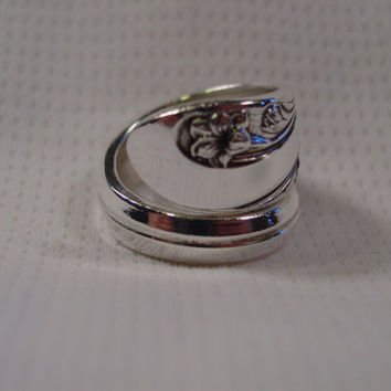 A Spoon Rings Plus Beautiful Wrapped Size 7 1/2 Spoon Ring Handmade Hippie Rings t112