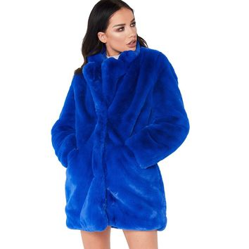 Winter Women Long Faux Fur Coat