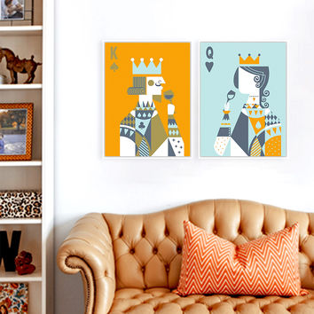 Poker King Queen Minimalist Love Couple Hipster Art Print Poster Abstract Wall Picture Canvas Painting No Framed Room Home Decor