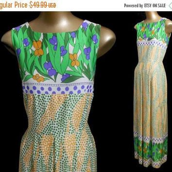 ON SALE Vintage 60s Maxi Dress, 1960s Abstract Border Print Gown, Green and Yellow, Boho Rich Hippie, Size S Small