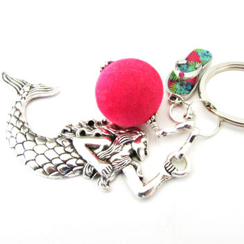 Mermaid and Flip Flop Keychain