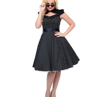 1950s Style Black & White Dotted Color Block Swing Dress