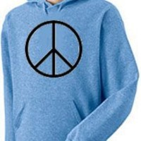 Peace Sign Symbol Hoody Sweatshirt - Columbia Blue