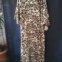 ON SALE 1960's Lucie Ann Beverly Hills Leopard Caftan Lounging Gown New Old Stock With Tags Robe High End Fashion Clothing