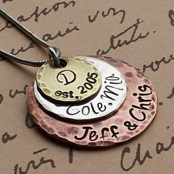 Hand Stamped Necklace Charm Mommy Jewelry Custom Stack Copper, Sterling Silver & Brass 3 disc Mothers Day