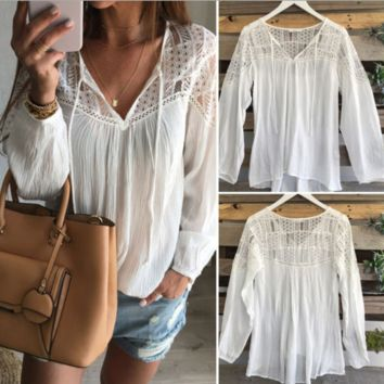 Casual Lace Patchwork Blouse Shirt B0014753