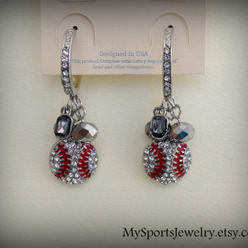 Baseball Crystal Rhinestone Hoop/Dangle Sports Earrings