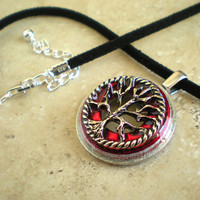 Tree of Life Necklace: Red - Wiccan Pendant - Celtic Jewelry - Tree Jewelry - Washer Jewelry - Elemental Jewelry - Unique Jewelry