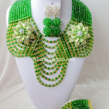 2017 Fashion Free shipping New Wedding green African beads jewelry set  VX104