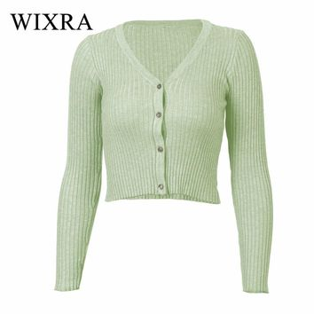 Wixra Warm and Charm New Women Cardigan Knitted Sweater Coat Long Sleeve Female Casual V-Neck Woman Short Cardigans Crop Tops