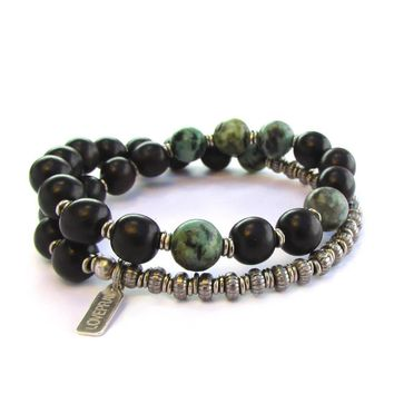 Strength and Change, Ebony and African Turquoise 27 Beads Unisex Mala Bracelet
