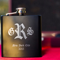Monogrammed Black Flask - Perfect Gift Set - Engraved 6oz Stainless Steel Flask