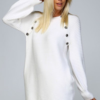 Button Sweater Dress - Ivory